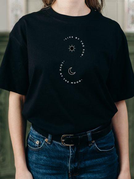 Sun and moon black half sleeve tshirt